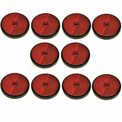 Red Round Rear Reflector Pack of 10 for Trailers Fence Gate Posts TR072