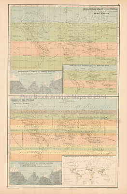 Zoological Chart Antique Map Black 1865 Original
