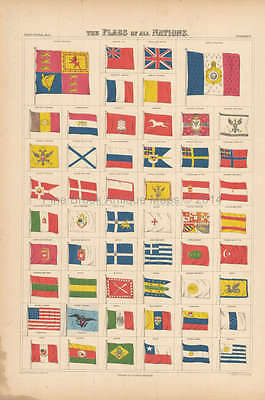Flags Of All Nations Antique Map Black 1865 Original