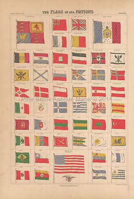Flags Of All Nations Antique Map Black 1867 Original