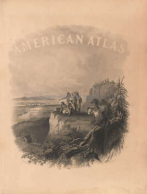 American Atlas Front Piece Vintage Johnson 1864 Original