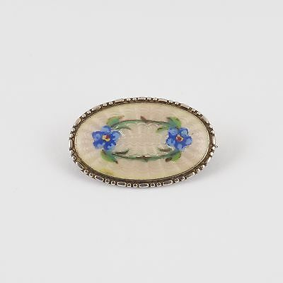 Vintage Silver And Enamel Guilloche Brooch Blue Flowers