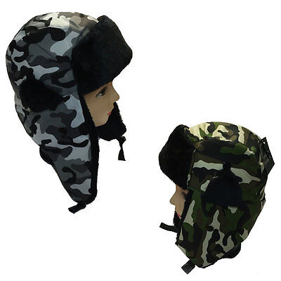 Unisex Ladies Mens Green Or Grey Camouflage Ear Lap Hats Camouflage Trapper Hat