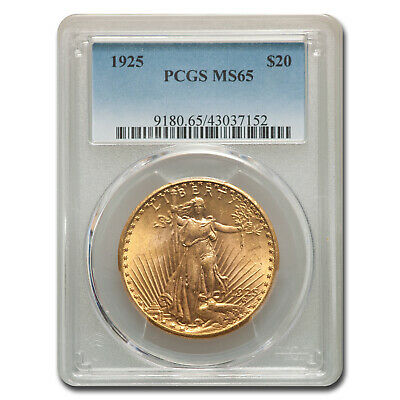 1925 $20 Saint-Gaudens Gold Double Eagle Coin - MS-65 PCGS - SKU #67298