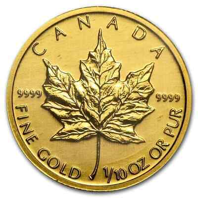 1/10 oz Gold Canadian Maple Leaf Coin - Random Year Coin - SKU #12