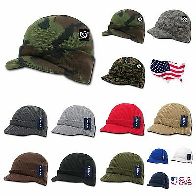 Men Women Visor Knit Beanie Cap Ball Cap Ski Hunting Army Military Winter Hats