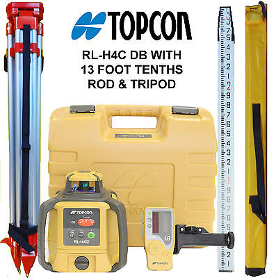 Topcon RL-H4C DB Laser Level PLUS 13 FT Aluminum Tenths Rod & HD Tripod