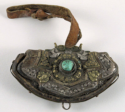 Antique Tibetan Leather Brass and Silver Pouch /Mechag