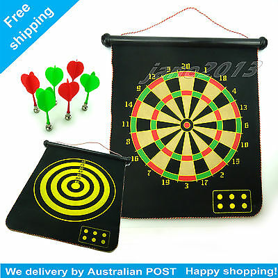 17''Magnet Dartboard Roll Up With 6 Magnet Darts Double Sided Kids birthday Gift