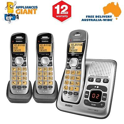 Uniden DECT1735+2 Triple(3) Handset Cordless Home Phone with Answering Machine