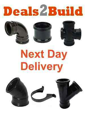 Soil Pipe 110mm Push Fit Fittings Black - Internal / External NEXT DAY DELIVERY