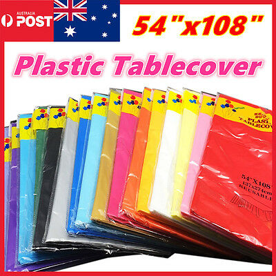 Rectangle Plastic Table Cloth Colour Cover Wedding Birthday Party Tablecover