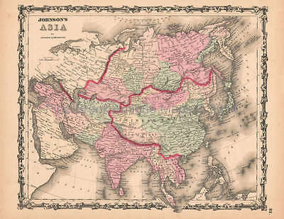 Asia Antique Map AJ Johnson 1862 Original