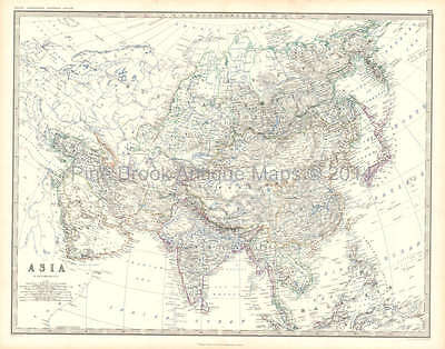 Asia Antique Map Johnston 1861 Original