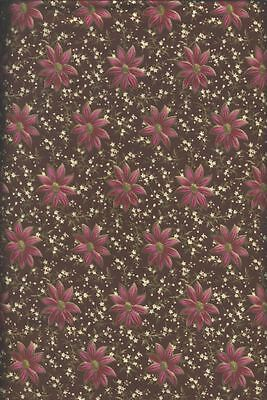 Blank Quilting Contessa Court Pink And White Flowers On Brown Cotton Fabric Bty