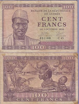Guinea 100 Francs Banknote 2.10.1958 Very Good Condition Cat#