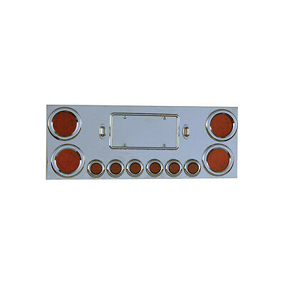 Stainless Steel Rear Center Panel with LED Lights for Peterbilt, Kenworth.......