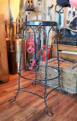 Antique Tall Twisted Wrought Iron Ice Cream Stool with Padded Seat