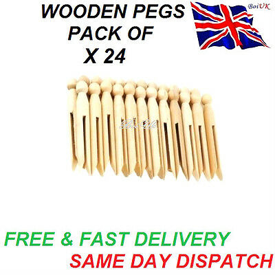 24 Wooden Dolly Pegs Traditional Clothes Line Washing High Quality Laundry Craft