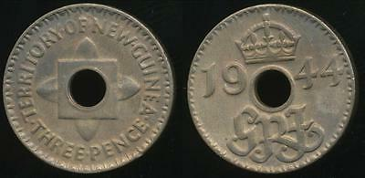 New Guinea, Australian Territory, 1944 Threepence, 3d, - Uncirculated