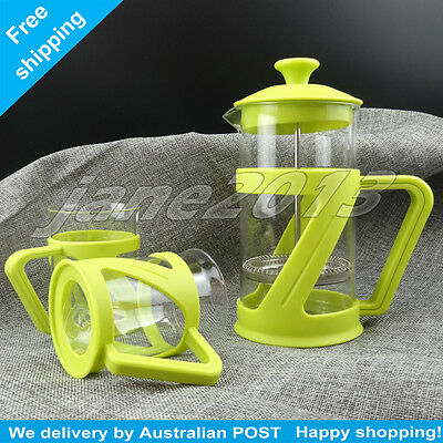 NEW glass French Press Coffee Plunger Glass Tea Coffee Maker + 2x Tea Cup 600ml