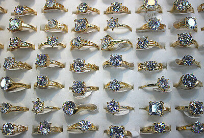 Job Lots 25pcs Clear Big Cubic Zirconia Gold Plated Charm Wedding Lady's rings