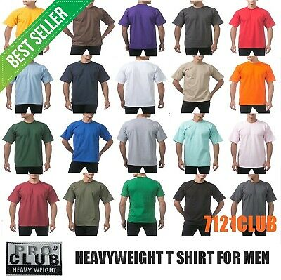 PRO CLUB HEAVYWEIGHT T SHIRTS ProClub Plain Tee Mens Crewneck Short Sleeve S-7XL