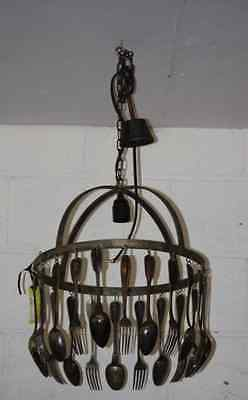 Original French Design Jose Estevez Silverware Iron Chandelier Lighting