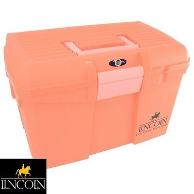 Lincoln Tack Box - CORAL - **Mounting Step/Carry Grooming Kit** **FREE P&P**