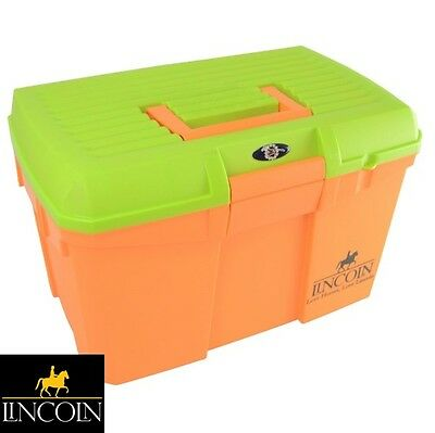 Lincoln Tack Box - ORANGE - **Mounting Step/Carry Grooming Kit** **FREE P&P**