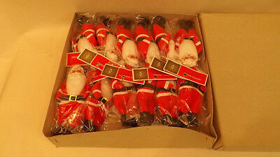 12 Vtg Shiny Brite Santa Claus Ornaments Felt, Spun Cotton NOS Japan
