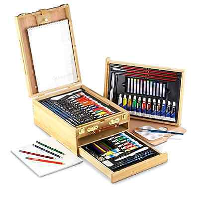 104 pc All Media Easel Artist Set Wood Case Brushes Paint Tubes Canvas Palette