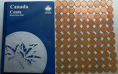 1920~2012 CANADA 99 x 1¢ Pennies in Unisafe Album - No Duplicates Many Varieties