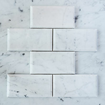 Carrara Marble Subway Bevelled Mosaic Tiles (Sheet)