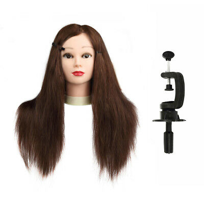 """24"""" Hairdressing Cutting Training Female Head 100% Real Long Hair Maroon/ Clamp"""