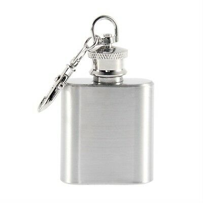 Portable 1oz Mini Stainless Steel Hip Flask Alcohol Flagon with Keychain BE