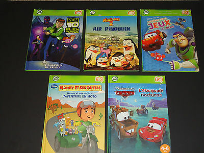 HTF Lot - 5 FRENCH - Leapfrog TAG Reading System Books Hardcover Disney 4-8ans