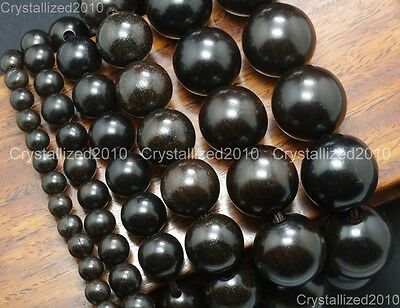 Natural Black Ebony Wood Round Ball Beads Bracelet 6mm 8mm 12mm 15mm 18mm 20mm