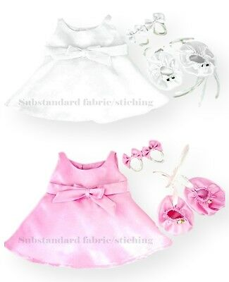 Teddy Bear Clothes fit Build a Bear Satin Shoes FAULTY But FREE Dress & Bows