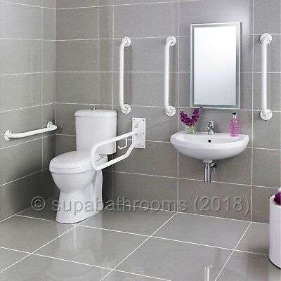 White Doc M Pack Disabled Bathroom Suite Toilet Basin Sink Seat Tap Grab Rails