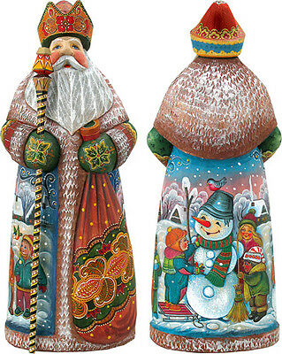 "G Debrekht Holiday Frolic 10"" 213303 Limited Edition Wooden Carved Santa"