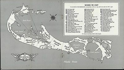 Bermuda Islands w/ Hotels c. 1950 Decorative scarce advertising old display map