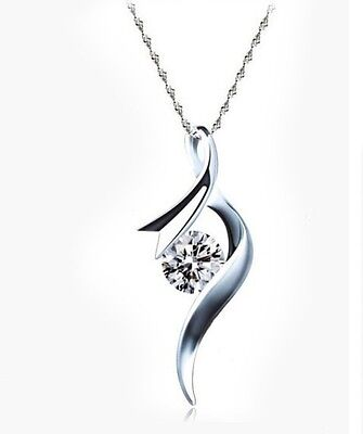 "18"" Sterling Silver Angel Wing CubicZirconia Pendant Necklace Chain Gift Box G18"