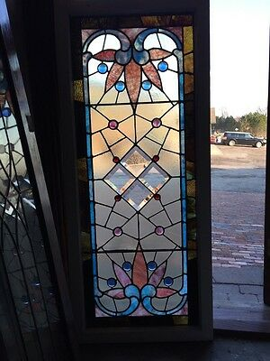 Sg 282 Jeweled Antique Eastlake Transom Stainglass Window