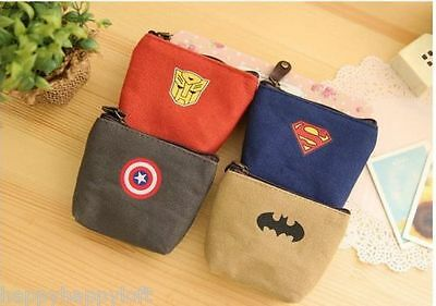 Superhero Kids Coin Purse Wallet Batman Superman Captain America Transformers