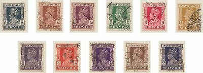 (IC-406) 1939-43 India 11set KGVI official (G)