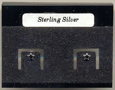 Tiny Black Star Sterling Silver 925 Studs Earrings Carded