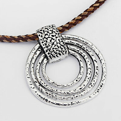 Large Personalised Tibetan Silver Hammered 4 Rings Pendant For Necklace Making