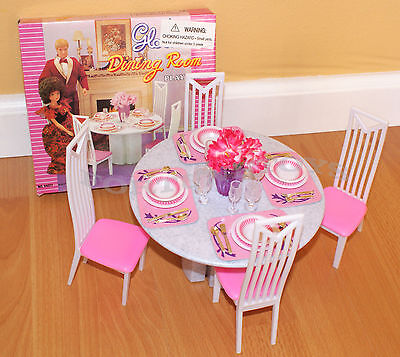 NEW GLORIA DOLL HOUSE FURNITURE 5 Pcs Round DINING TABLE PLAYSET (94011)