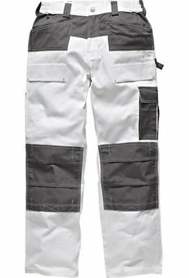 Mens Dickies Trouser Knee Pad Pockets Painters Decorators WD4930 White W30-40